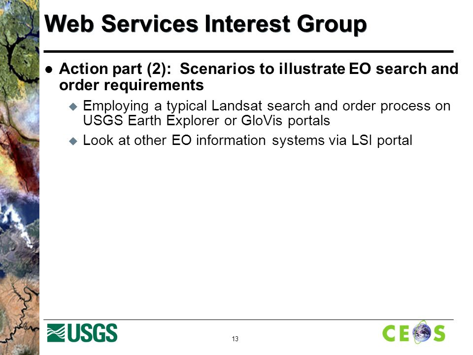 13 Web Services Interest Group Action part (2): Scenarios to illustrate EO search and order requirements  Employing a typical Landsat search and order process on USGS Earth Explorer or GloVis portals  Look at other EO information systems via LSI portal