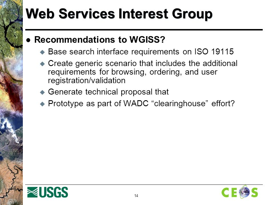 14 Web Services Interest Group Recommendations to WGISS.