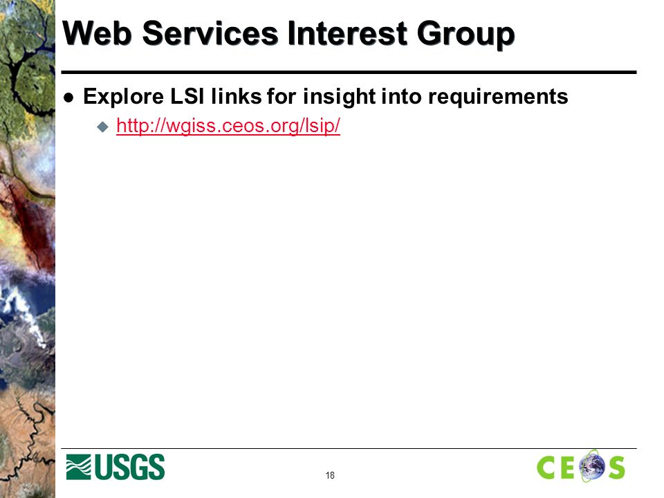 18 Web Services Interest Group Explore LSI links for insight into requirements 