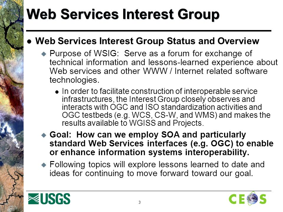3 Web Services Interest Group Web Services Interest Group Status and Overview  Purpose of WSIG: Serve as a forum for exchange of technical information and lessons-learned experience about Web services and other WWW / Internet related software technologies.