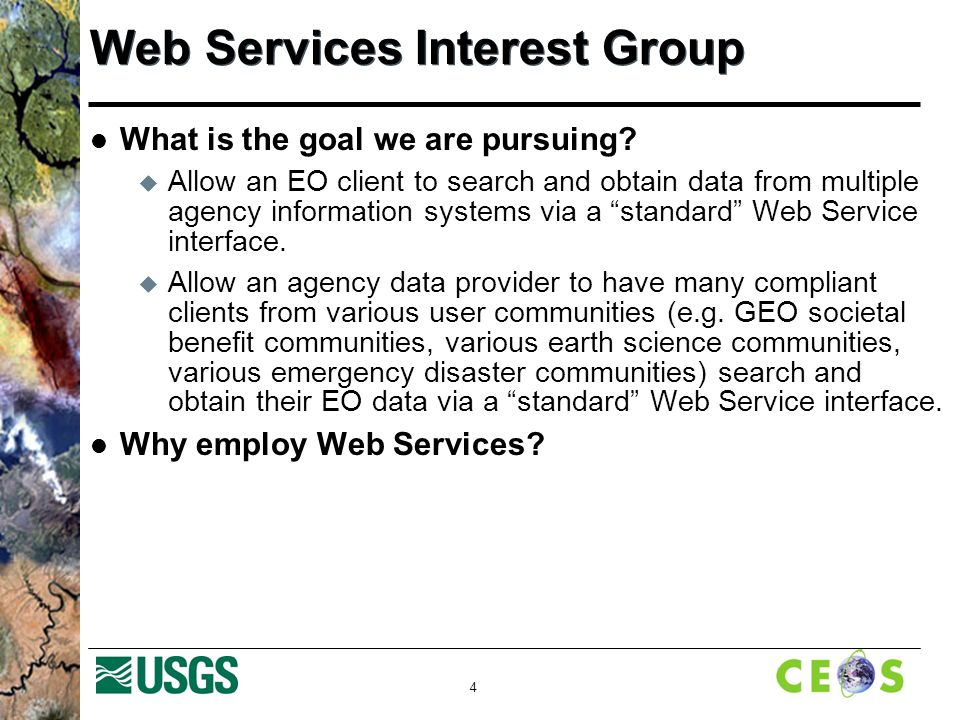 4 Web Services Interest Group What is the goal we are pursuing.