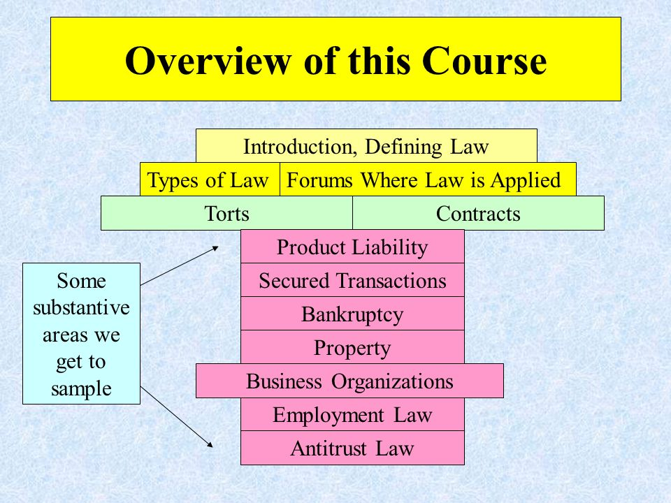 Overview of this Course Introduction, Defining Law Types of LawForums Where Law is Applied TortsContracts Product Liability Secured Transactions Employment Law Bankruptcy Property Business Organizations Antitrust Law Some substantive areas we get to sample