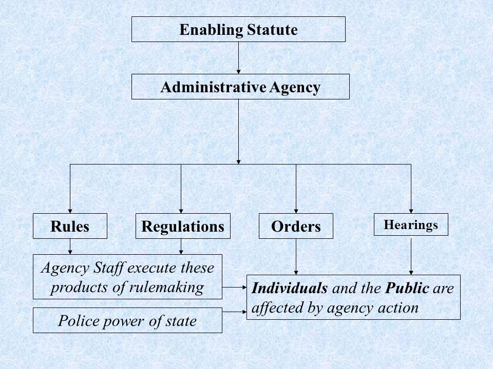 Enabling Statute Administrative Agency RulesRegulationsOrders Hearings Agency Staff execute these products of rulemaking Individuals and the Public are affected by agency action Police power of state