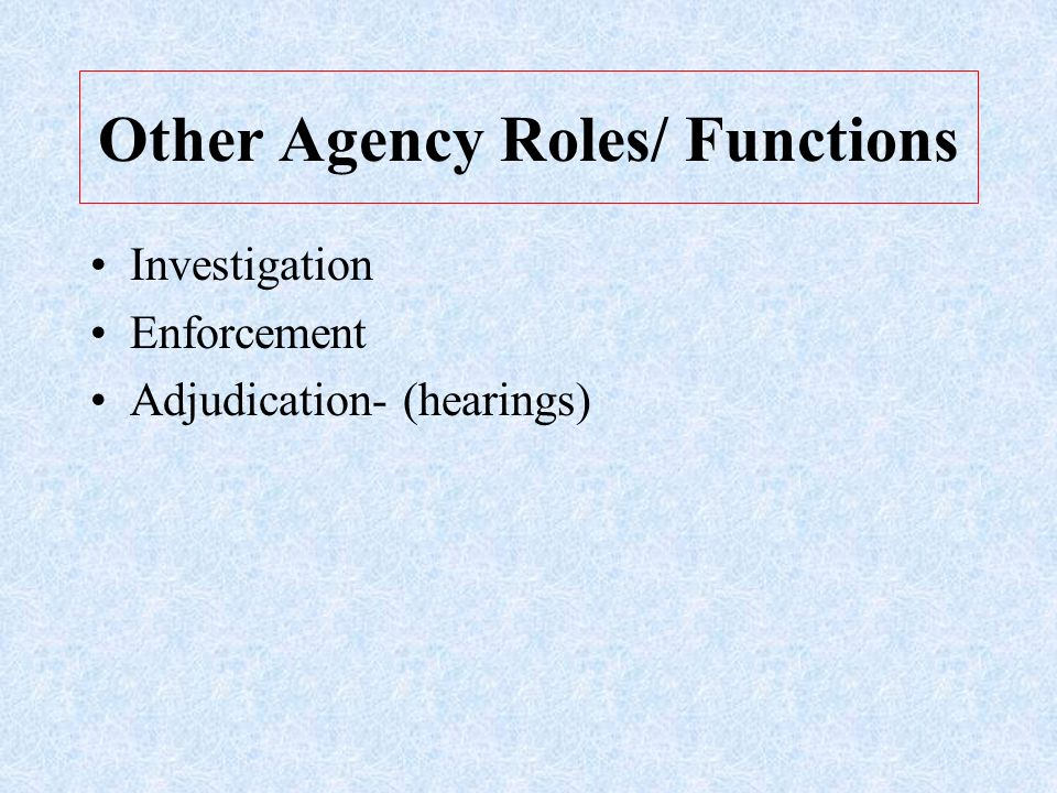 Other Agency Roles/ Functions Investigation Enforcement Adjudication- (hearings)