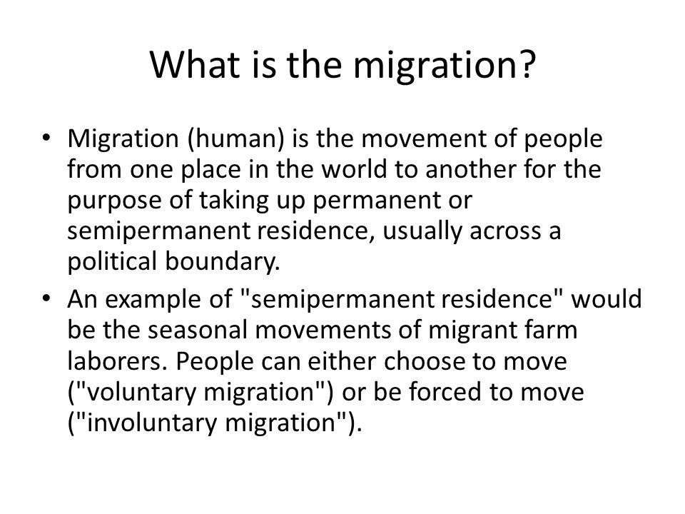 What is the migration.