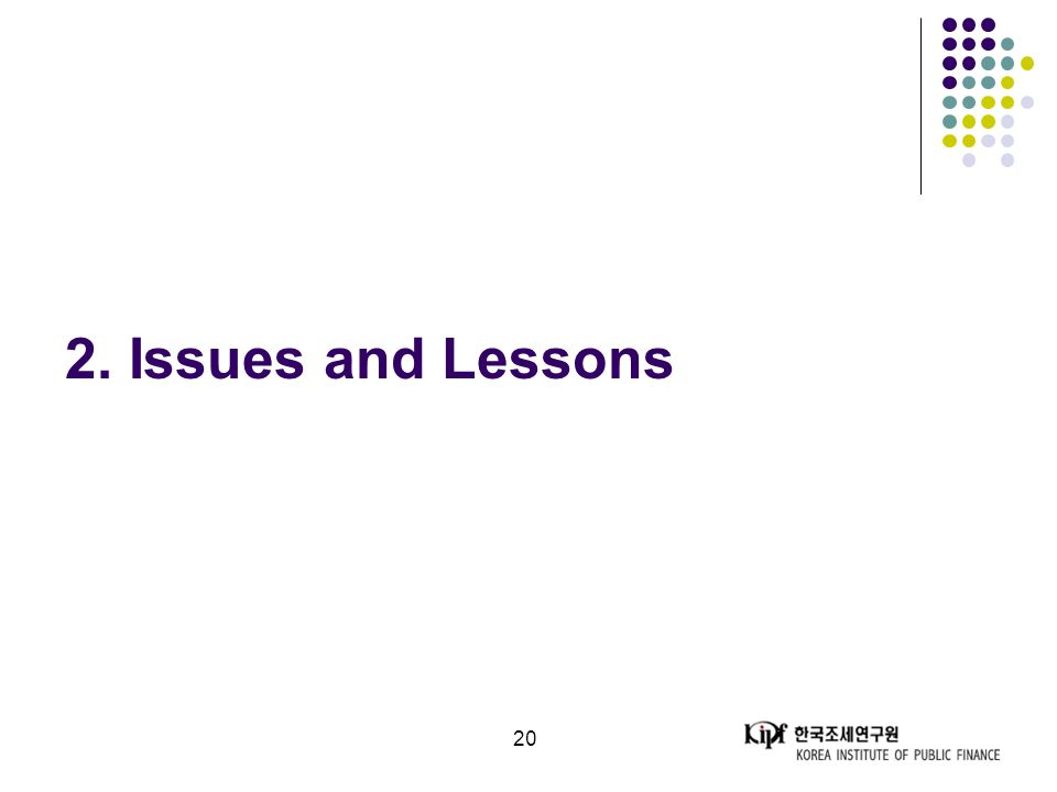20 2. Issues and Lessons