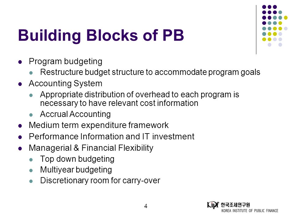 4 Building Blocks of PB Program budgeting Restructure budget structure to accommodate program goals Accounting System Appropriate distribution of overhead to each program is necessary to have relevant cost information Accrual Accounting Medium term expenditure framework Performance Information and IT investment Managerial & Financial Flexibility Top down budgeting Multiyear budgeting Discretionary room for carry-over