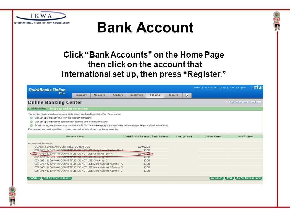 quickbooks overview home bank account register transactions