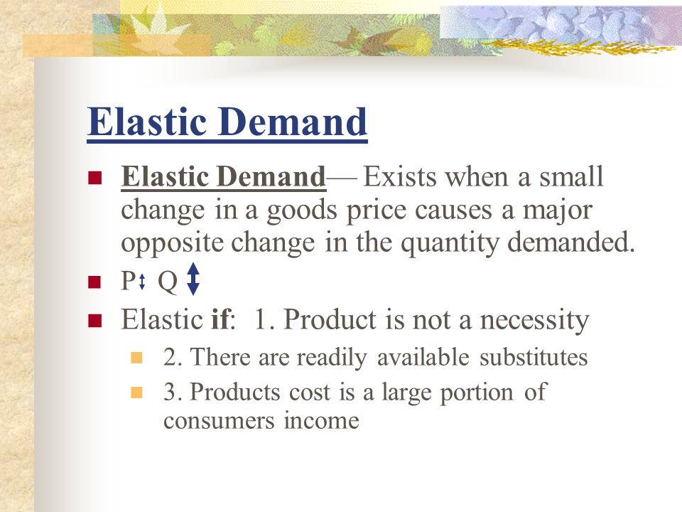 Examples of elastic demand products.