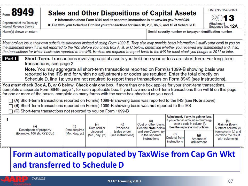 TAX-AIDE Capital Gain or Loss Form 1040Line 13 Pub 4012D-13