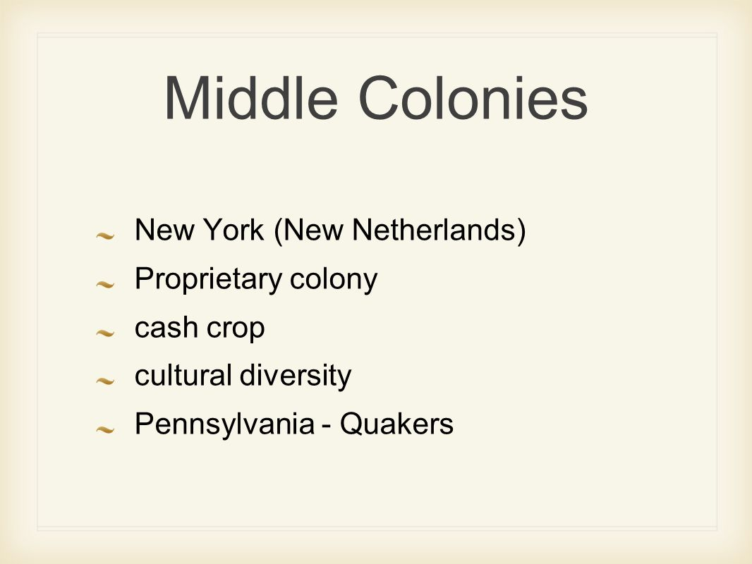 Middle Colonies New York (New Netherlands) Proprietary colony cash crop cultural diversity Pennsylvania - Quakers