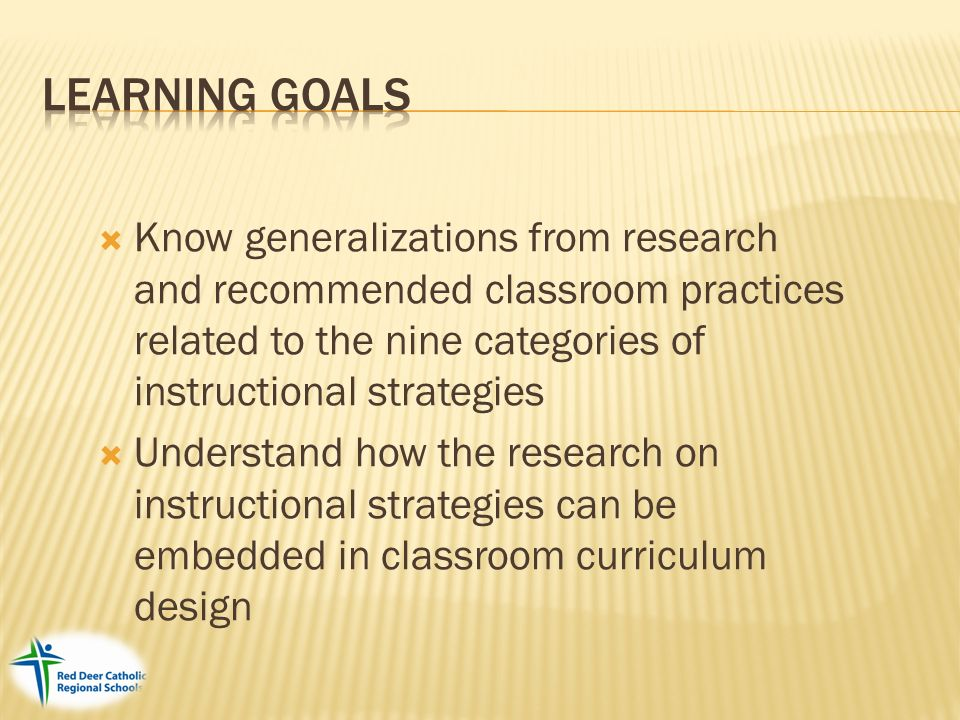 2005 Mcrel Know Generalizations From Research And Recommended