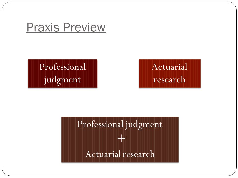 Praxis Preview Professional judgment Actuarial research Professional judgment + Actuarial research Professional judgment + Actuarial research