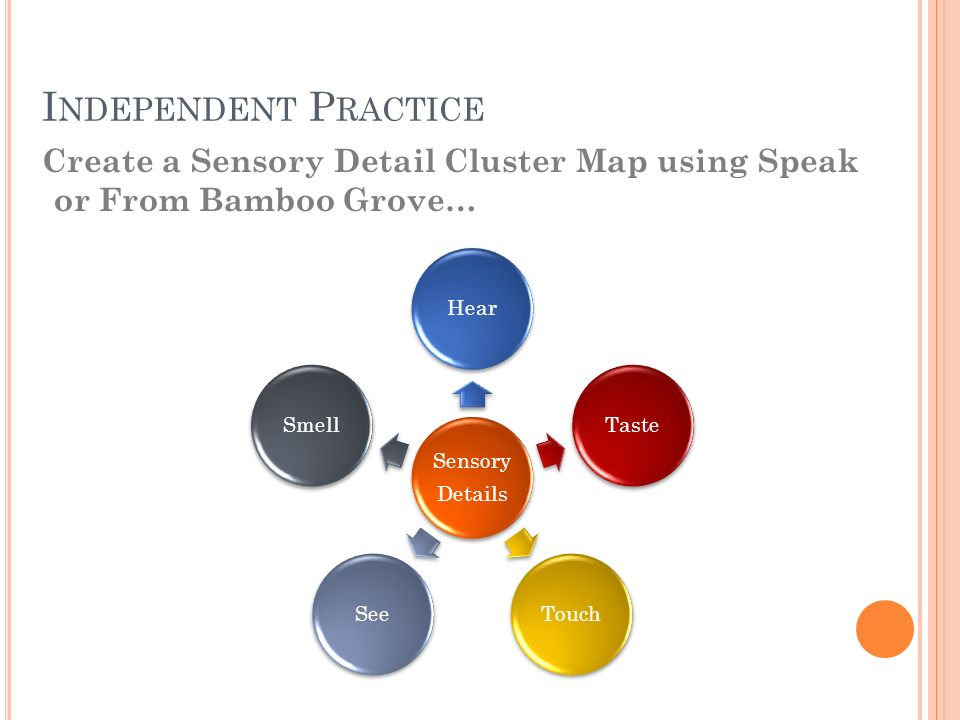 I NDEPENDENT P RACTICE Create a Sensory Detail Cluster Map using Speak or From Bamboo Grove… Sensory Details HearTasteTouchSeeSmell