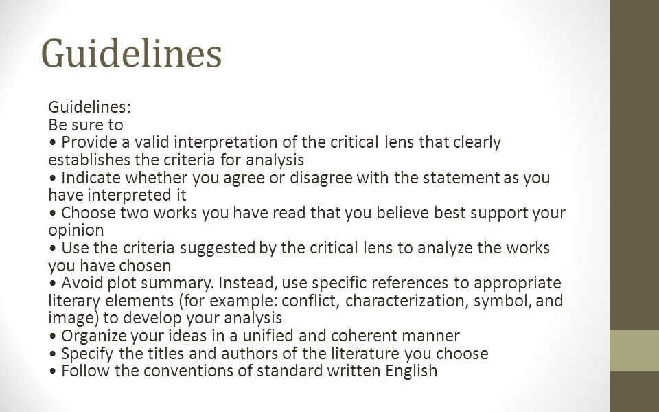Critical Lens Guidelines, Intro, Body Rubric, and Acceptable Terms ...