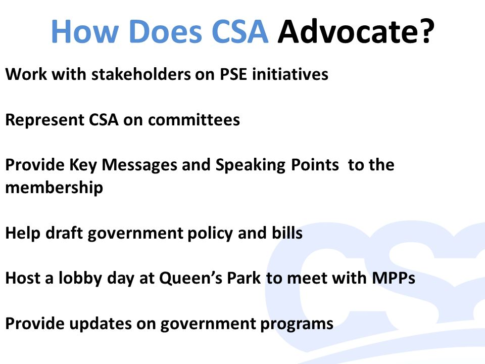 Advocacy 101 – May How Does CSA Advocate? Work with