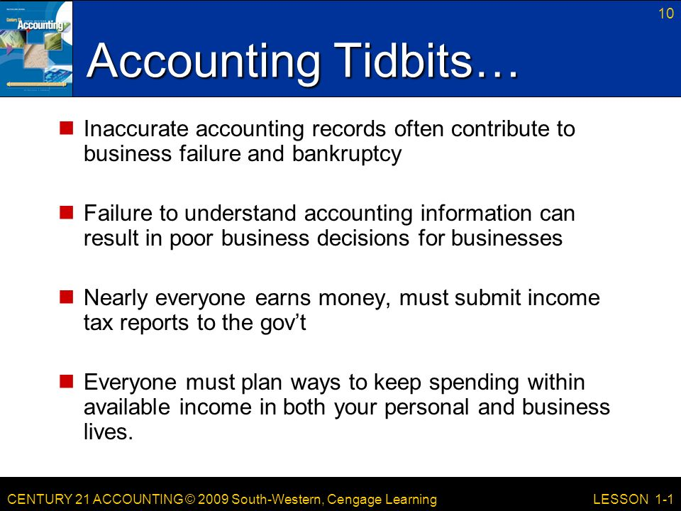 CENTURY 21 ACCOUNTING © 2009 South-Western, Cengage Learning 10 LESSON 1-1 Accounting Tidbits… Inaccurate accounting records often contribute to business failure and bankruptcy Failure to understand accounting information can result in poor business decisions for businesses Nearly everyone earns money, must submit income tax reports to the gov't Everyone must plan ways to keep spending within available income in both your personal and business lives.