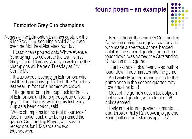 Found Poem An Example Edmonton Grey Cup Champions Regina