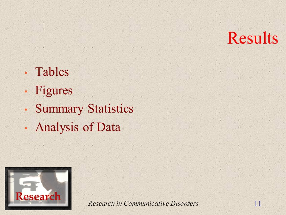 Research in Communicative Disorders 11 Results Tables Figures Summary Statistics Analysis of Data