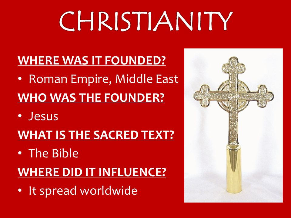 WHERE WAS IT FOUNDED. Roman Empire, Middle East WHO WAS THE FOUNDER.