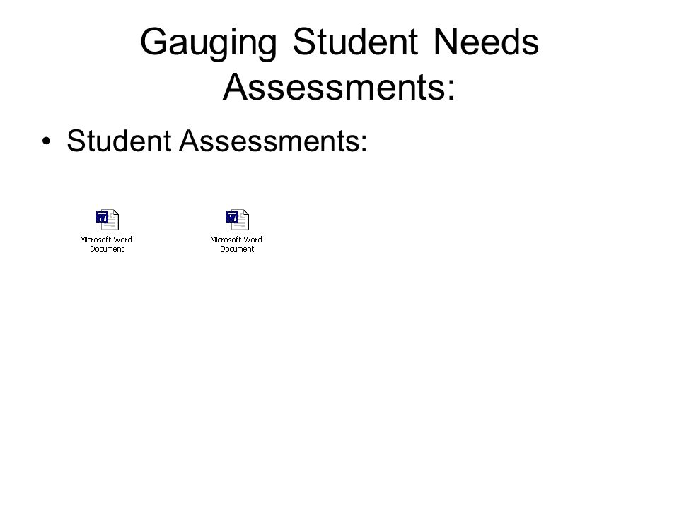 Gauging Student Needs Assessments: Student Assessments: