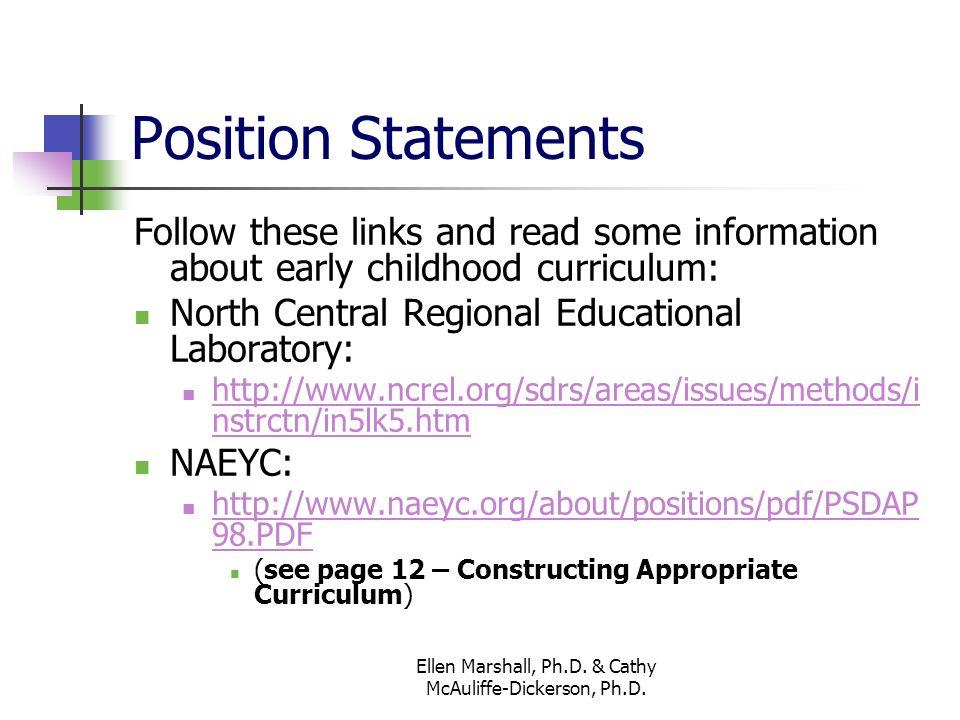 Topic II The Early Childhood Curriculum Ellen Marshall, Ph D