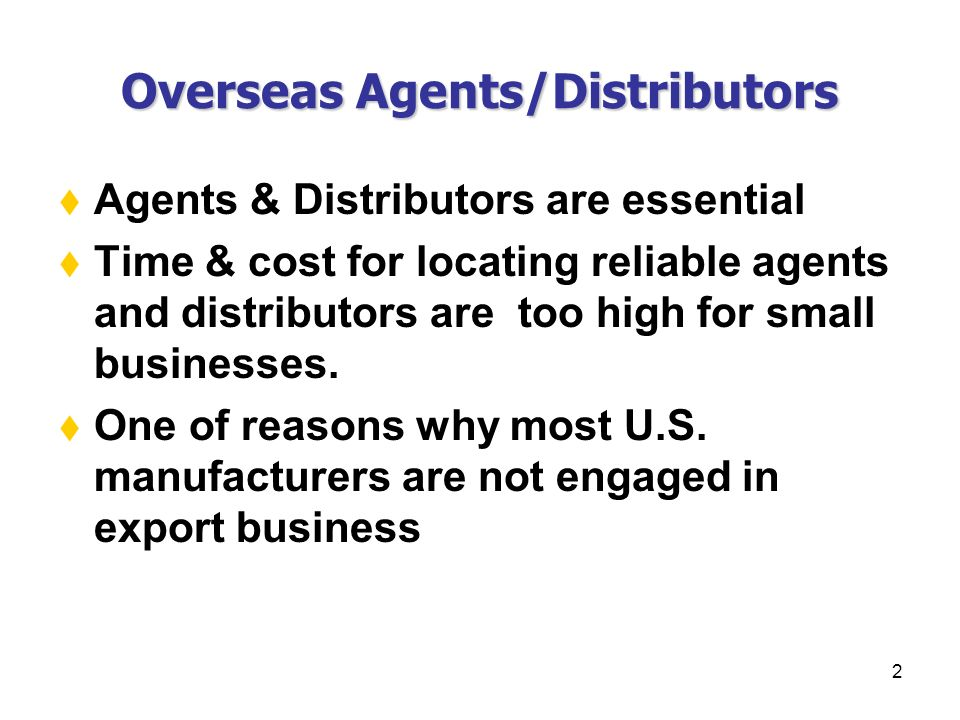 1 Chapter Xxvii Overseas Agents Distributors Agency Agreements