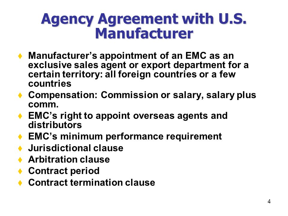 1 Chapter Xxvii Overseas Agents Distributors Agency Agreements