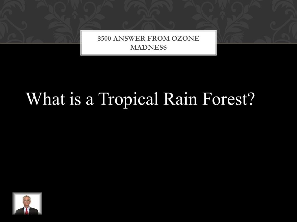 $500 QUESTION FROM OZONE MADNESS This is a hot, wet forested area that contains many species of trees, plants, and animals and is located near the equator in Latin America, Africa, and Asia.