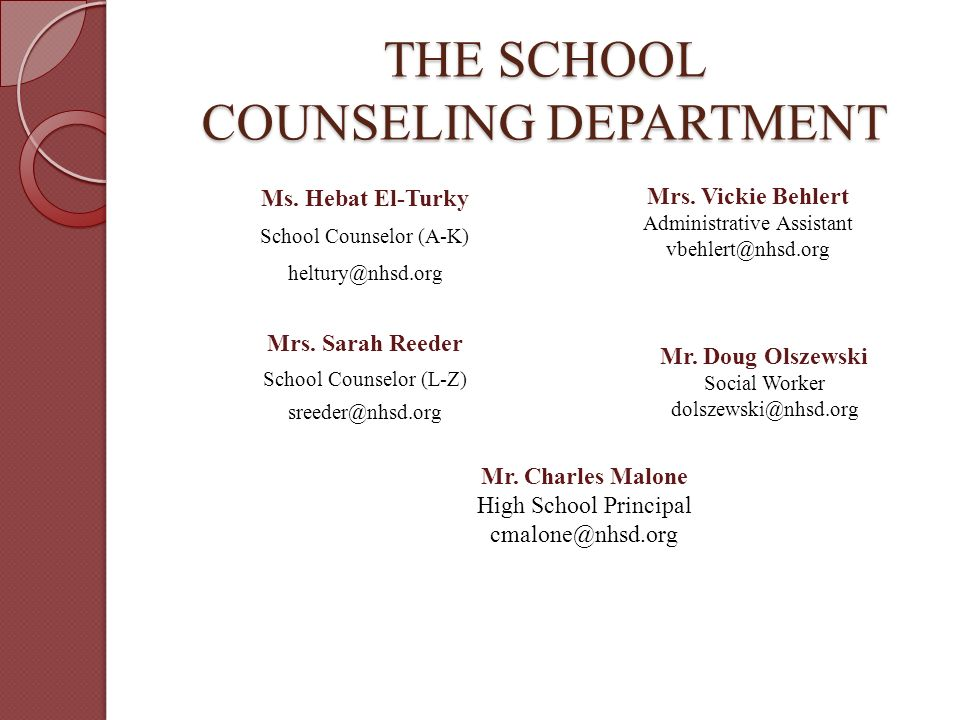 THE SCHOOL COUNSELING DEPARTMENT Ms. Hebat El-Turky School Counselor (A-K) Mrs.