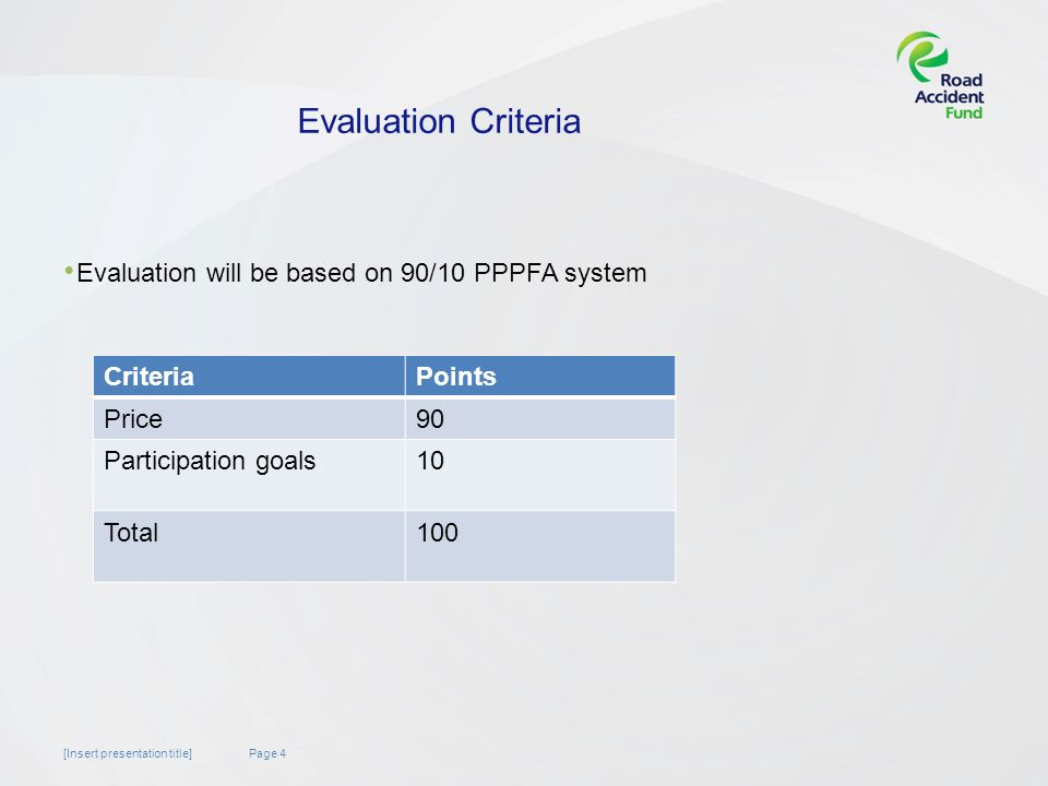 Page 4[Insert presentation title] Evaluation Criteria Evaluation will be based on 90/10 PPPFA system CriteriaPoints Price90 Participation goals10 Total100