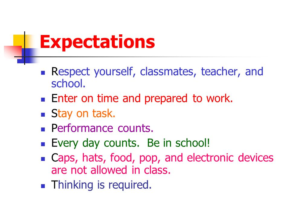 Expectations Respect yourself, classmates, teacher, and school.