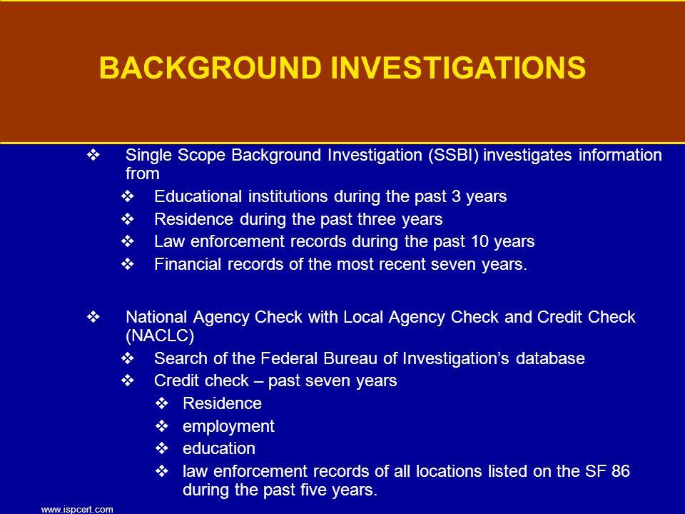 Single Scope Background Investigation