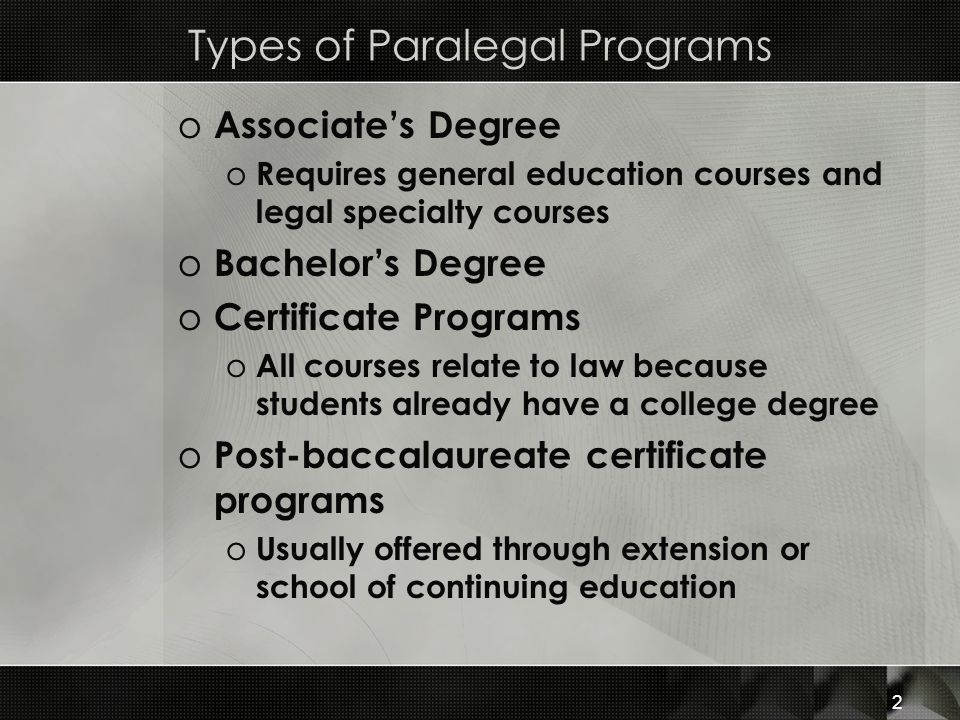 Chapter 2 Paralegals in the Legal System. Types of Paralegal ...