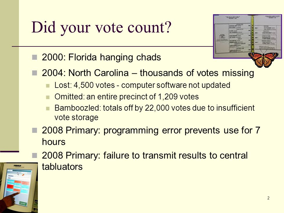 does your vote count The 2016 election will most certainly not hinge on your decision to vote for this or that candidate or any other ballot issue for example, even if we simplify that we have an electoral college and you do not directly vote for a candidate, the probability that your specific vote will sway a mass election is approximately zero.
