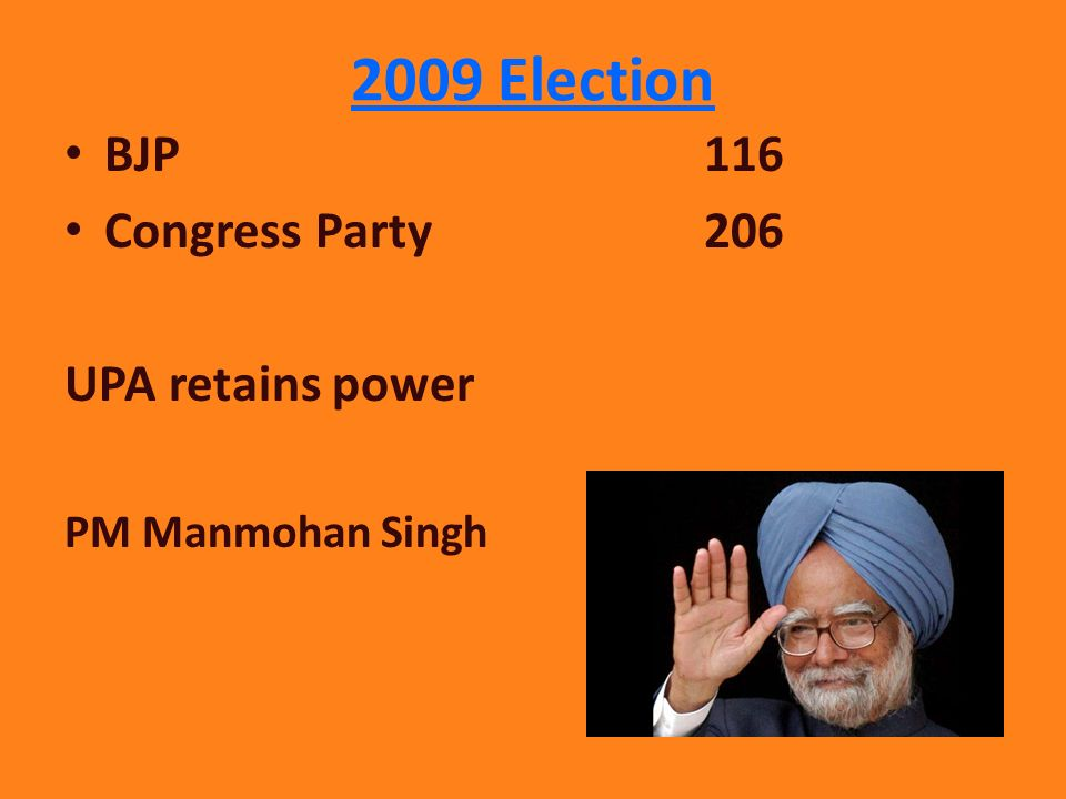 2009 Election BJP 116 Congress Party 206 UPA retains power PM Manmohan Singh