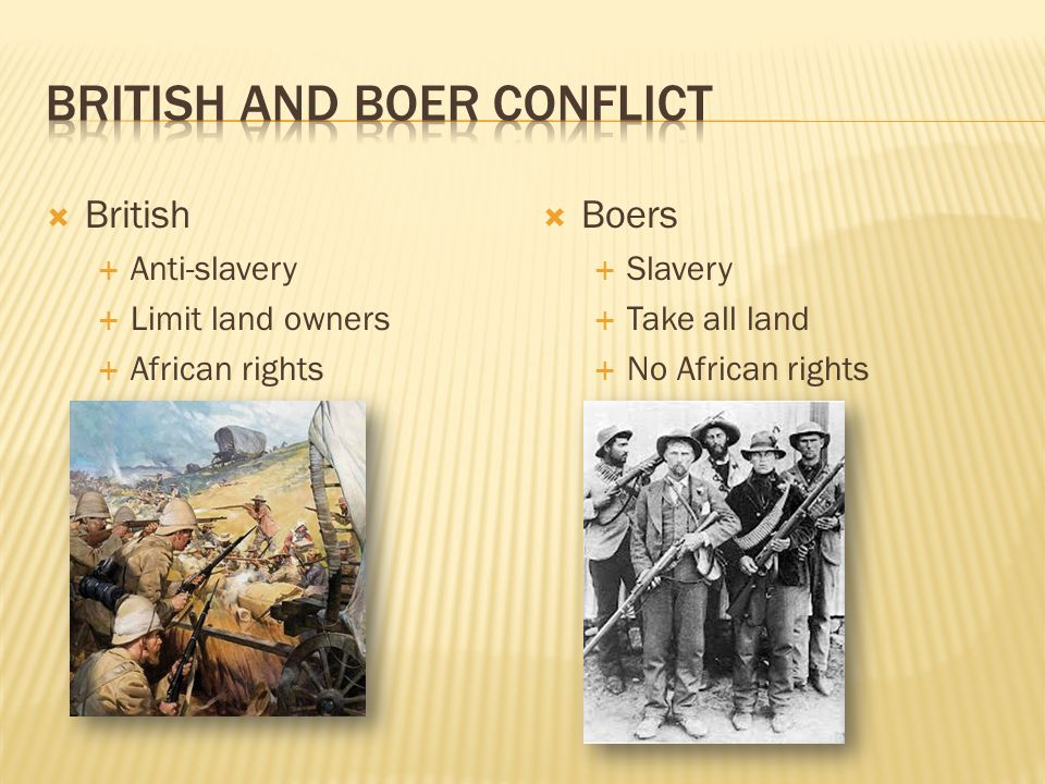  British  Anti-slavery  Limit land owners  African rights  Boers  Slavery  Take all land  No African rights