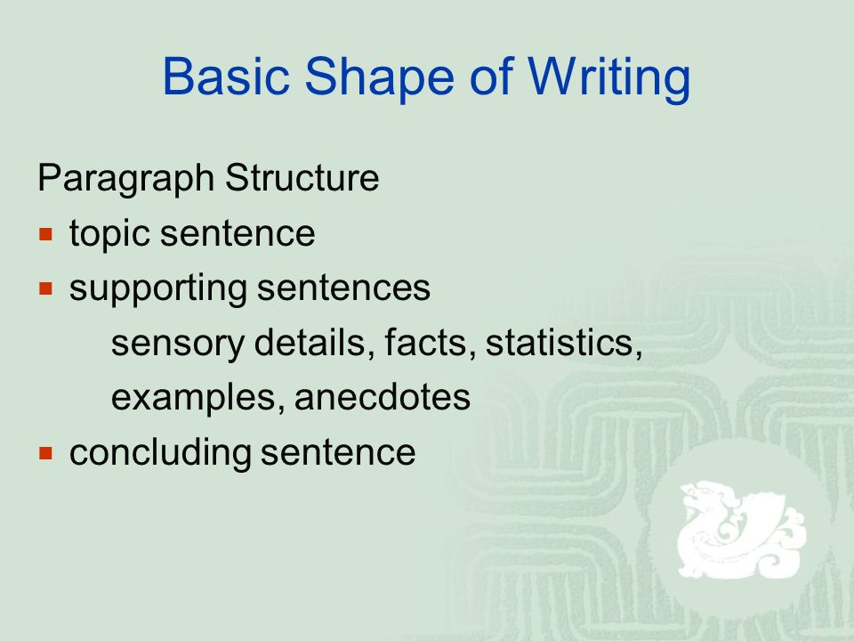 8 Basic Shape Of Writing Paragraph Structure Topic Sentence Supporting Sentences Sensory Details Facts Statistics Examples Anecdotes Concluding