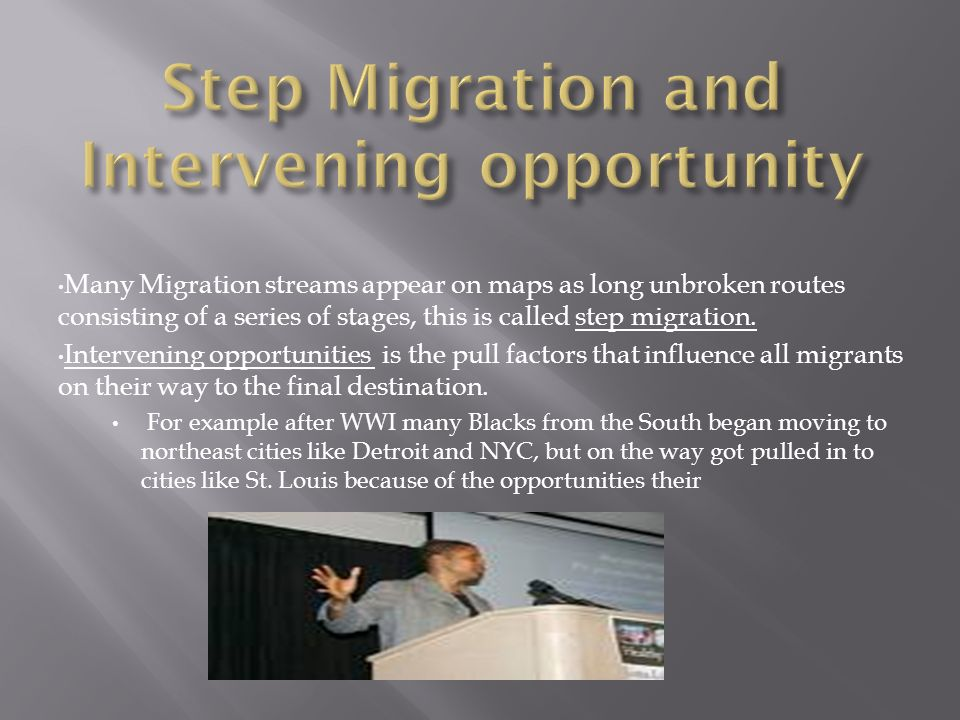 Many Migration streams appear on maps as long unbroken routes consisting of a series of stages, this is called step migration.