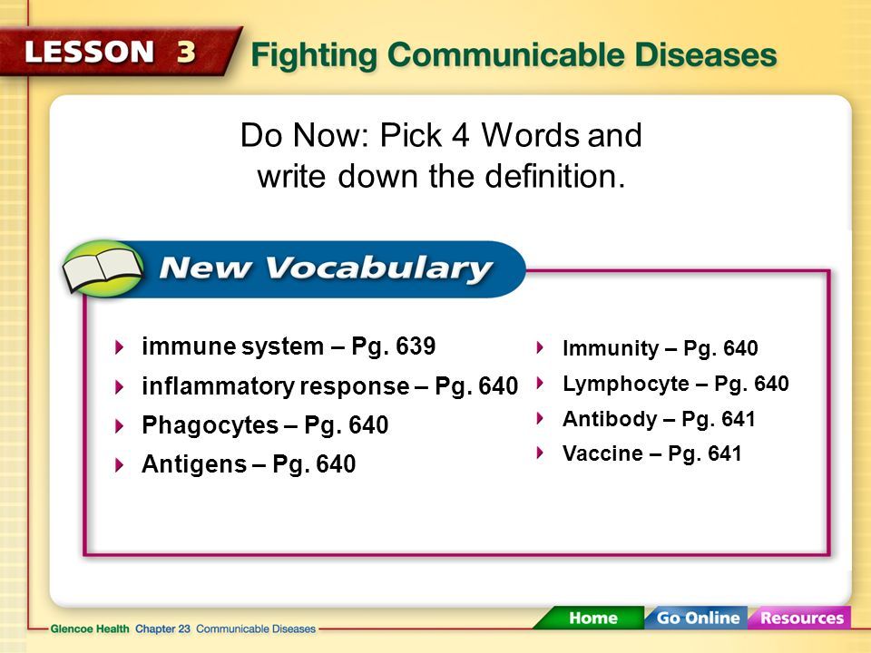 Fighting Communicable Diseases (1:09) Click here to launch video Click here to download print activity