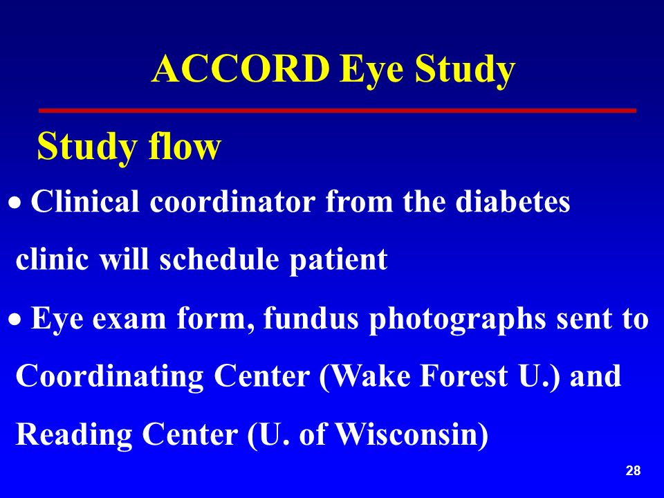 28  Clinical coordinator from the diabetes Coordinating Center (Wake Forest U.) and  Eye exam form, fundus photographs sent to clinic will schedule patient ACCORD Eye Study Study flow Reading Center (U.