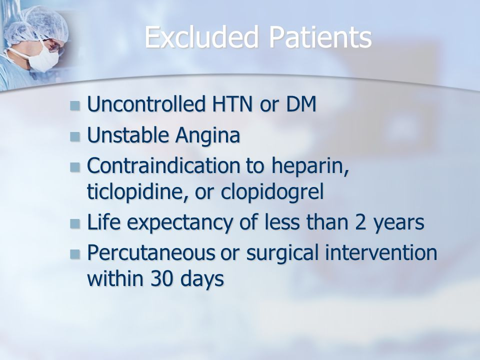 Excluded Patients Uncontrolled HTN or DM Uncontrolled HTN or DM Unstable Angina Unstable Angina Contraindication to heparin, ticlopidine, or clopidogrel Contraindication to heparin, ticlopidine, or clopidogrel Life expectancy of less than 2 years Life expectancy of less than 2 years Percutaneous or surgical intervention within 30 days Percutaneous or surgical intervention within 30 days