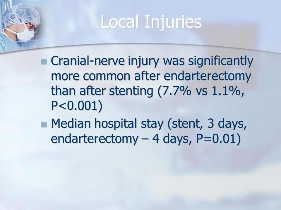 Local Injuries Cranial-nerve injury was significantly more common after endarterectomy than after stenting (7.7% vs 1.1%, P<0.001) Cranial-nerve injury was significantly more common after endarterectomy than after stenting (7.7% vs 1.1%, P<0.001) Median hospital stay (stent, 3 days, endarterectomy – 4 days, P=0.01) Median hospital stay (stent, 3 days, endarterectomy – 4 days, P=0.01)