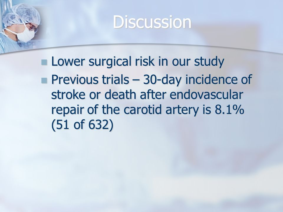 Discussion Lower surgical risk in our study Lower surgical risk in our study Previous trials – 30-day incidence of stroke or death after endovascular repair of the carotid artery is 8.1% (51 of 632) Previous trials – 30-day incidence of stroke or death after endovascular repair of the carotid artery is 8.1% (51 of 632)