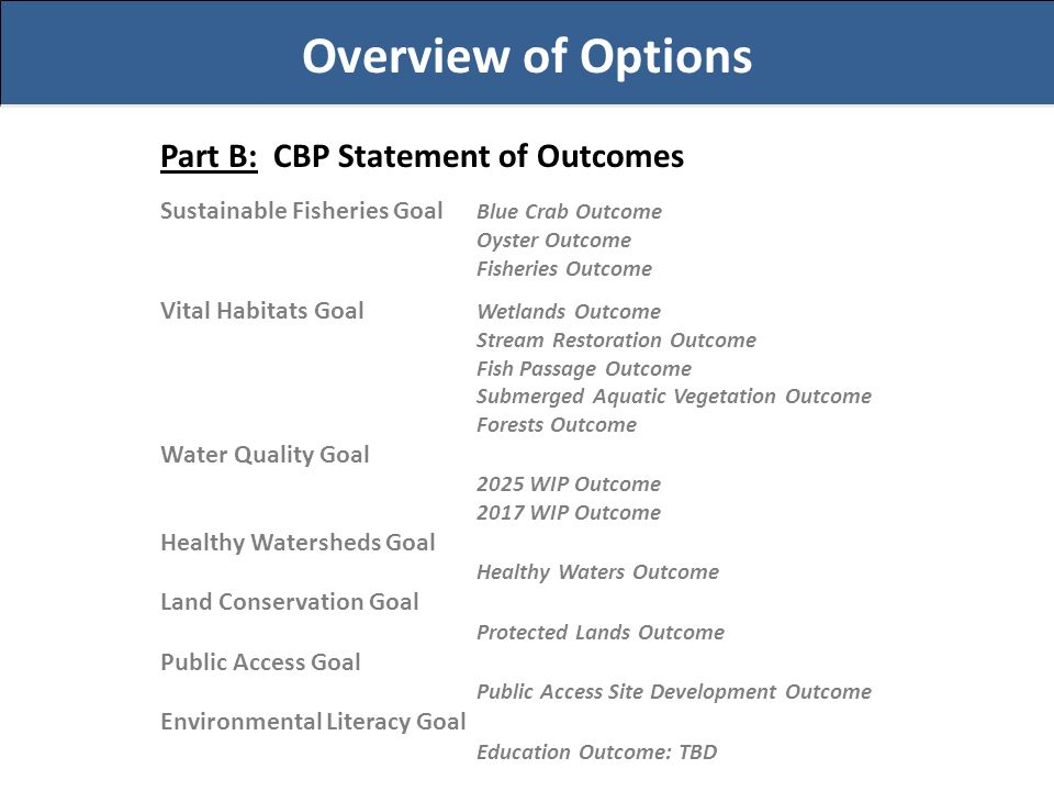 Overview of Options Part B: CBP Statement of Outcomes Sustainable Fisheries Goal Blue Crab Outcome Oyster Outcome Fisheries Outcome Vital Habitats Goal Wetlands Outcome Stream Restoration Outcome Fish Passage Outcome Submerged Aquatic Vegetation Outcome Forests Outcome Water Quality Goal 2025 WIP Outcome 2017 WIP Outcome Healthy Watersheds Goal Healthy Waters Outcome Land Conservation Goal Protected Lands Outcome Public Access Goal Public Access Site Development Outcome Environmental Literacy Goal Education Outcome: TBD