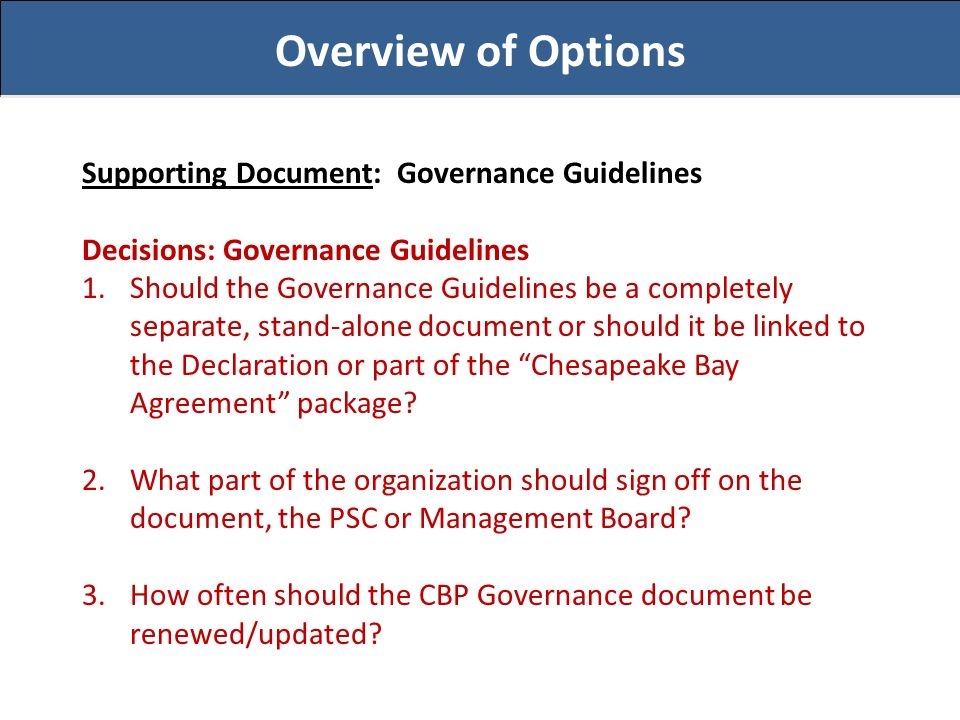 Overview of Options Supporting Document: Governance Guidelines Decisions: Governance Guidelines 1.Should the Governance Guidelines be a completely separate, stand-alone document or should it be linked to the Declaration or part of the Chesapeake Bay Agreement package.