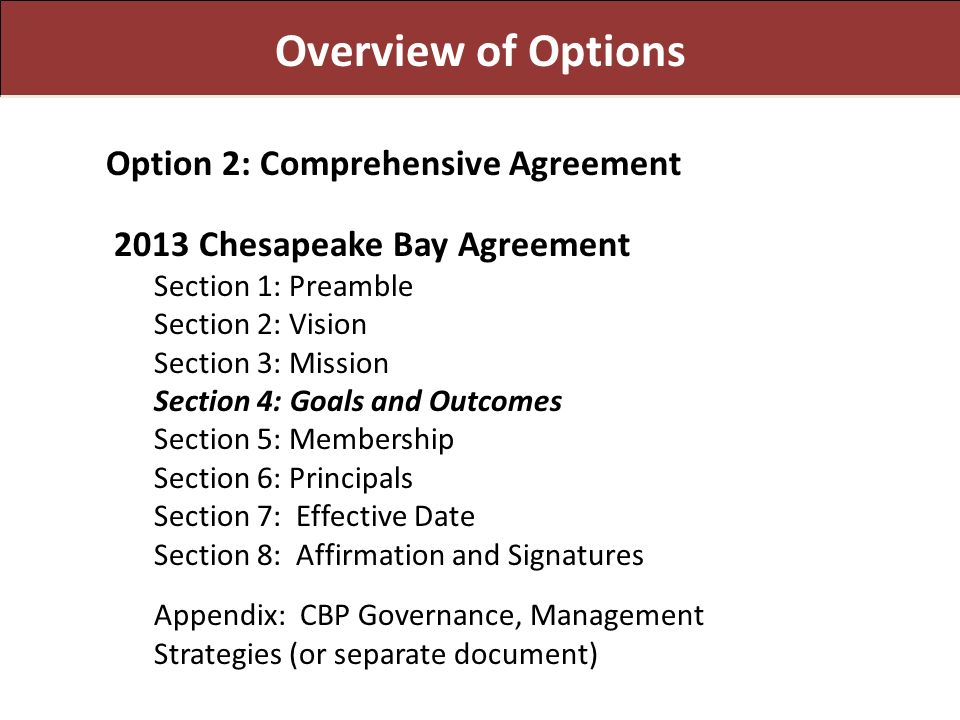 Overview of Options Option 2: Comprehensive Agreement 2013 Chesapeake Bay Agreement Section 1: Preamble Section 2: Vision Section 3: Mission Section 4: Goals and Outcomes Section 5: Membership Section 6: Principals Section 7: Effective Date Section 8: Affirmation and Signatures Appendix: CBP Governance, Management Strategies (or separate document)