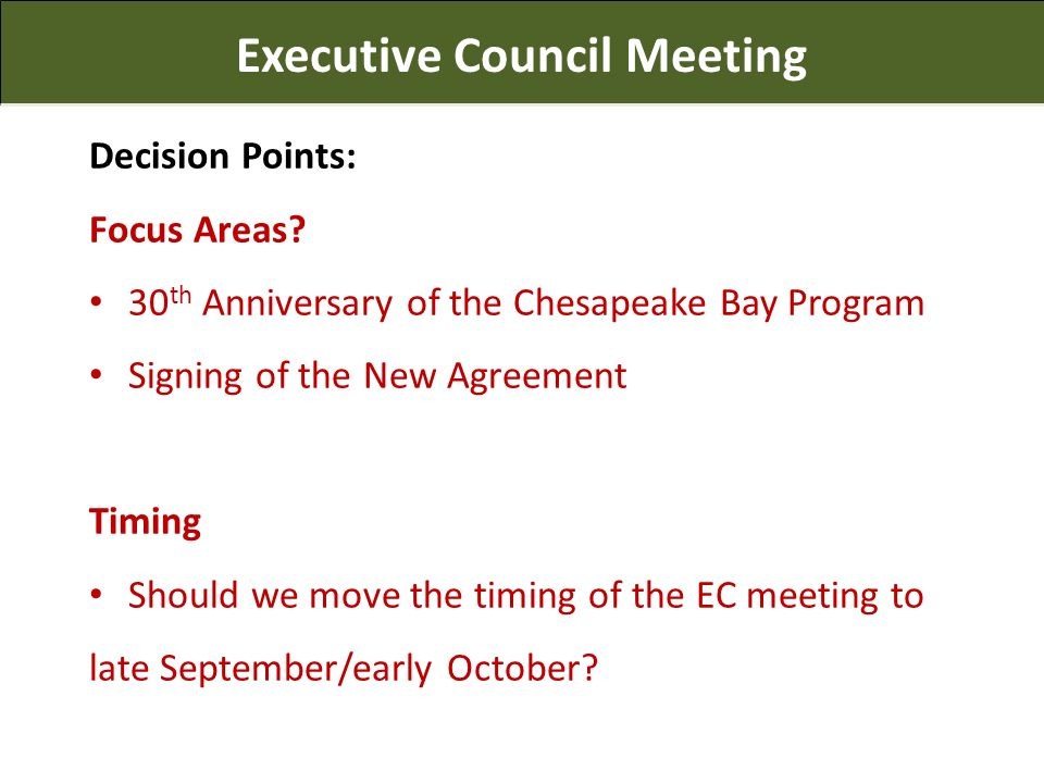 Executive Council Meeting Decision Points: Focus Areas.