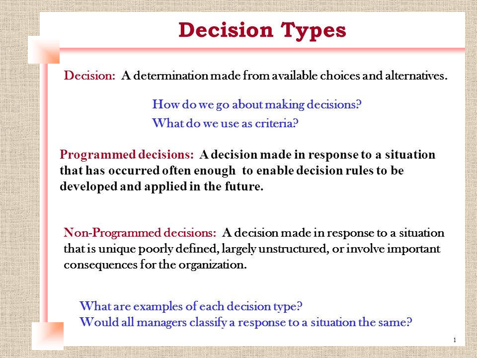 programmed decision making examples