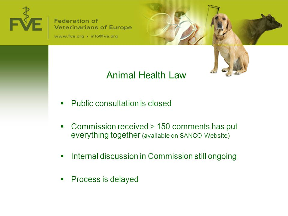Animal Health Law  Public consultation is closed  Commission received > 150 comments has put everything together (available on SANCO Website)  Internal discussion in Commission still ongoing  Process is delayed